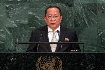 朝鲜外务相李勇浩在第72届联大一般性辩论上发言。
