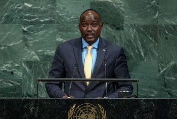 Ibrahim Yacoubou, Ministre des affaires étrangères, de la coopération, de l'intégration africaine et des Nigériens à l'étranger de la République du Niger, lors du débat général de la 72ème session de l'Assemblée générale.