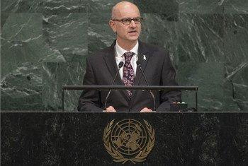 新西兰常驻联合国代表克雷格·霍克(Craig Hawke)9月25日在第72届联大一般性辩论发言。