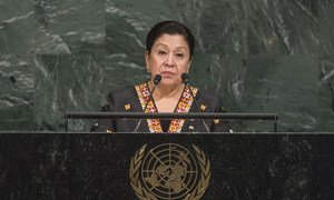 Постоянный представитель Туркменистана при ООН Аксолтан Атаева на трибуне  Генеральной  Ассамблеи