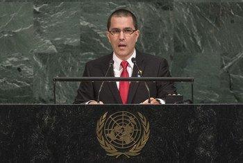 Le Ministre vénézuelien des affaires étrangères, Jorge Arreaza, lors du débat général de l'Assemblée générale des Nations Unies. Photo ONU/Cia Pak