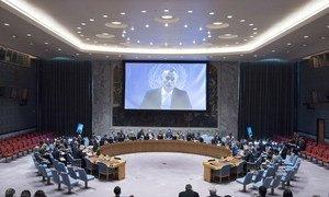 Nickolay Mladenov, le Coordonnateur spécial des Nations Unies pour le processus de paix au Moyen-Orient, informe le Conseil de sécurité en visioconférence depuis Jérusalem.