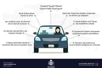 Gráfico do governo da Arábia Saudita explicando que as mulheres têm agora o direito de dirigir