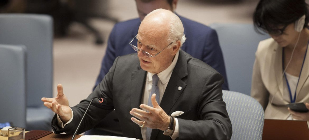 Staffan de Mistura, special envoy of the Secretary-General for Syria speaks at the Security Council Meeting on the situation in the Middle East.