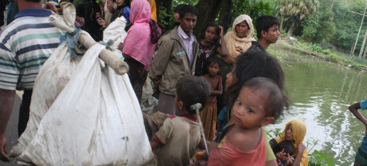 New arrivals in Bangladesh's Ukhiya area right after crossing the border with Myanmar's northern Rakhine state.
