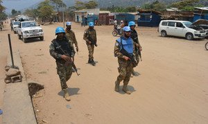 In Uvira, South Kivu, Democratic Republic of the Congo, peacekeepers of MONUSCO patrol the streets of the city to ensure the protection of civilians.