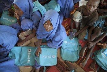Estudiantes nigerianas de una escuela auspiciada por UNICEF en el estado de Borno, Nigeria.
