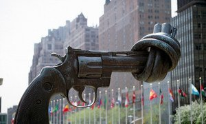 """The """"Non-Violence"""" (or """"Knotted Gun"""") sculpture by Swedish artist Carl Fredrik Reuterswärd on display at the UN Visitors' Plaza."""