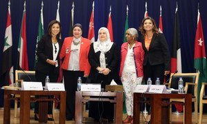 Left to right: Dr. Khawla Mattar (ESCWA), Dr. Naglaa Al-Adly (Egypt's National Council of Women), Minister Haifa Agha (Palestinian Ministry of Women's Affairs), Dr. Nata Duvvury (National University of Ireland), Dr. Mehrinaz Elawady (ESCWA Centre for Women).