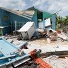أكتوبر 2017: الأمين العام للأمم المتحدة أنطونيو غوتيريش يتفقد آثار الدمار الذي ألحقه إعصار إيرما بجزيرة باربودا.