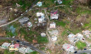 Aerial view of the devastation in Dominica following successive category five hurricanes in September 2017.