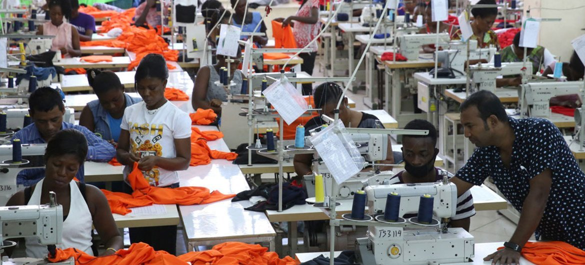 Factory workers producing shirts for overseas clients, in Accra, Ghana.
