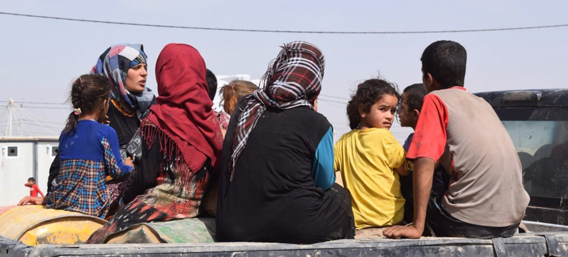 Women and children displaced by fighting in northern Iraq.