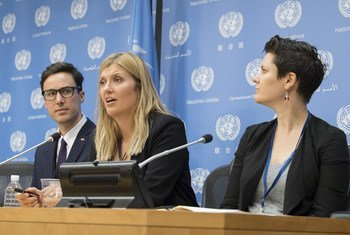 International Campaign to Abolish Nuclear Weapons (ICAN), winner of the 2017 Nobel Peace Prize, holds press conference at UN Headquarters, led by Beatrice Fihn (centre), Executive Director of ICAN.