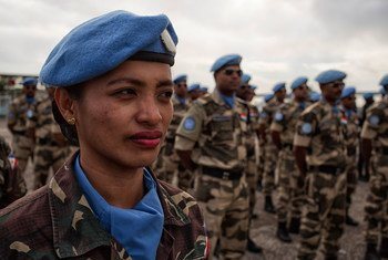 Uniformed MINUSTAH personnel at the Jaborandy military base in Port au Prince, Haiti.