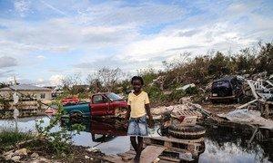 Une fillette de sept ans traverse un pont de bois de fortune qu'elle a construit après que l'ouragan Irma ait causé de graves dommages sur le site de Five Cays, à Providenciales, dans les îles Turks et Caicos.