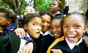School children attend a parade in South Africa.