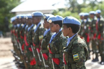 Des Casques bleus rwandais au Soudan du Sud. 300 soldats de la paix rwandais de la Mission des Nations Unies au Soudan du Sud sont arrivés le 24 décembre en République centrafricaine pour renforcer la MINUSCA dans son plan de sécurisation des élections