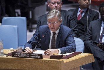 Jean-Pierre Lacroix, secretario general adjunto para Operaciones de Mantenimiento de la Paz informa al Consejo de Seguridad.