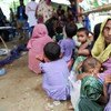 A reception point for Rohingya refugees at Haria Khali Primary School in Sabrang Union of Teknaf Upazila, in Bangladesh. OCHA/Anthony Burke
