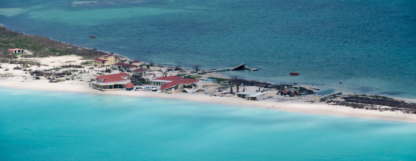 Aerial view of damage caused by Hurricane Irma in Antigua and Barbuda (2017).