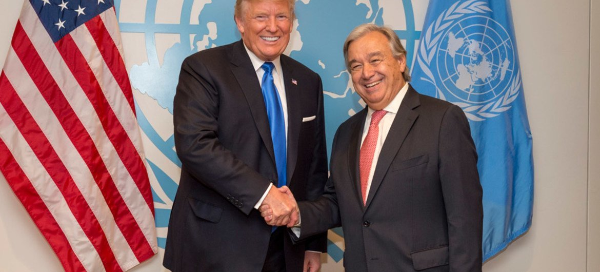 Secretary-General António Guterres (right) meets with United States President Donald Trump at the 72nd session of the General Assembly at the UN Headquarters, New York. (file)
