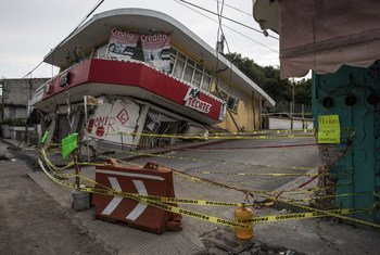 Jojutla, in Morelos state, is near the epicentre of the earthquake and was among the hardest-hit places in Mexico. Almost half of the small one- and two-story structures in the town's centre were destroyed. Photo UNICEF/Zehbrauskas