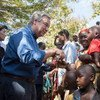 Secretary-General António Guterres meets with internally displaced persons in Bangassou, Central African Republic.