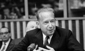 Даг Хаммаршельд на пресс-конференции в ООН 24 марта 1960 г.