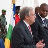 Secretary-General António Guterres (left) holds a joint press briefing with President Faustin Archange Touadera of the Central African Republic.