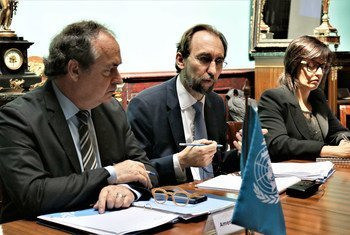 In Uruguay, UN High Commissioner for Human Rights Zeid Ra'ad Al Hussein (centre) alongside Commissioners from the Inter-American Commission on Human Rights, launches the Joint Action Mechanism on protection of human rights defenders in the Americas.