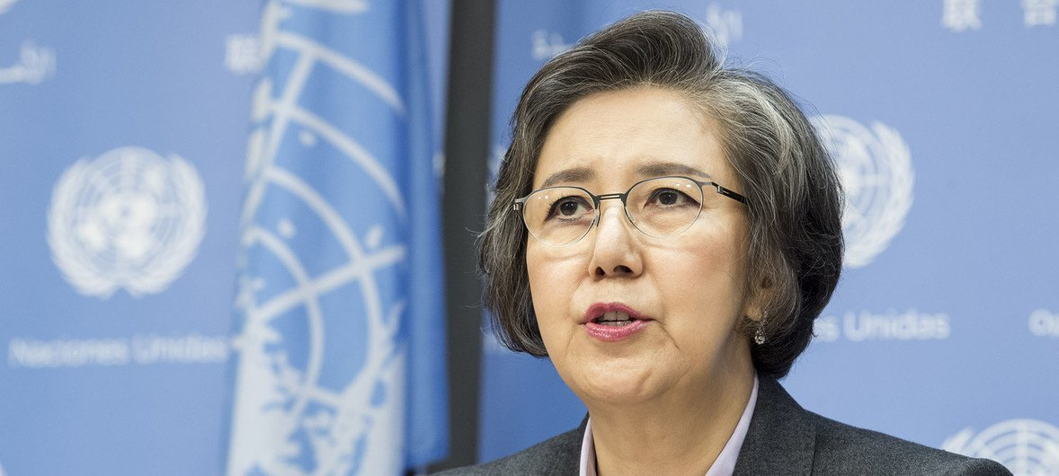 Yanghee Lee, Special Rapporteur on the situation of human rights in Myanmar, briefs reporters at UN Headquarters.