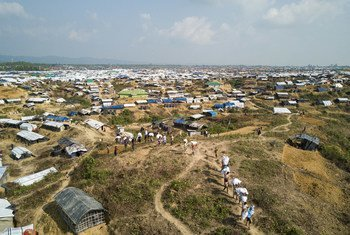 A view of the Kutupalong Extension refugee camp spanning over 3,000 acres in Cox's Bazar, southern Bangladesh.