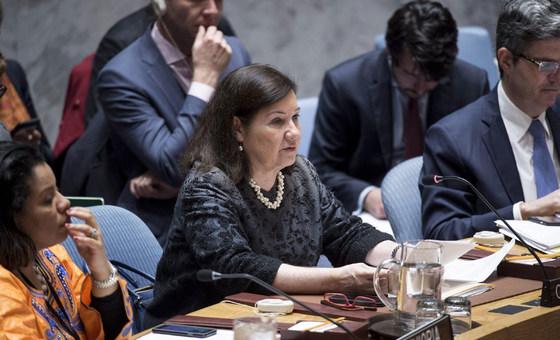 Maria Luiza Ribeiro Viotti, Cheffe de cabinet du Secrétaire général de l'ONU, lors d'une réunion du Conseil de sécurité (photo d'archives).