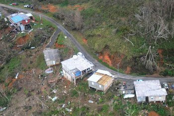 Residents wave from the roof of a house, bottom right, in Jayuya, Puerto Rico, 14 October 2017, to signal for help.