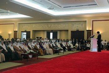 Hiroshi Kuniyoshi, Directeur général adjoint de l'ONUDI, prend la parole lors de l'ouverture du WEIF 2017 à Manama, Bahreïn.