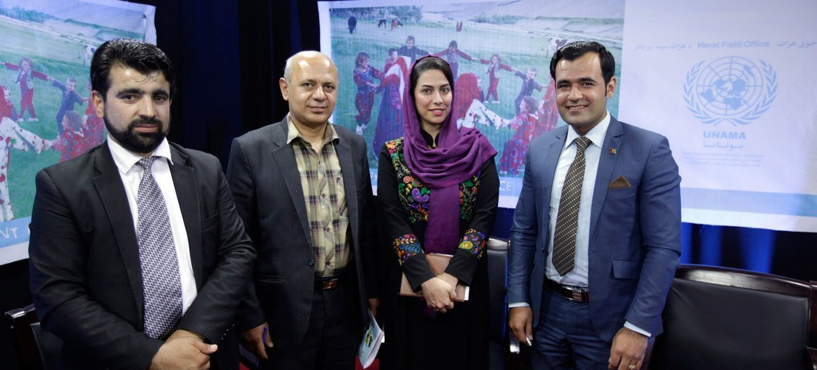 Provincial Councilwoman Somaia Ramish (second right) on the set with host and guests after talking about peace and the role of young Afghans at Asia Television.