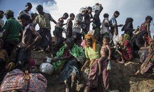Grupo de refugiados rohinyas entre Myanmar y Bangladesh