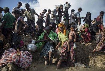 Refugiados rohingya na fronteira com o Bangladesh.