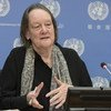 The Victims' Rights Advocate for the United Nations, Jane Connors, briefing the press at UN Headquarters.