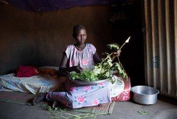 سيدة تعد الطعام لأسرتها في جنوب السودان.