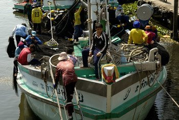 Migrants from Myanmar working on a Thai boat in the Mahachai port.