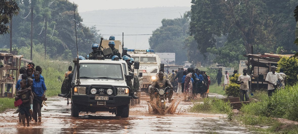 Joint patrol with military and police in PK5 Neighborhood in Bangui, Central African Republic.