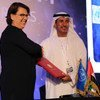 UNOOSA Director Simonetta Di Pippo and the Director General of the UAE Space Agency, Mohammed Al-Ahbabi, at a signing ceremony held in Dubai.