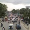 Solar-powered lights line a busy street in Kathmandu, the capital of Nepal, which is listed among the world's 47 least developed countries.