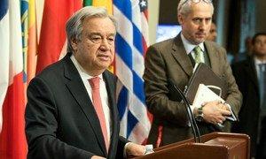 Secretary-General António Guterres addresses the press.