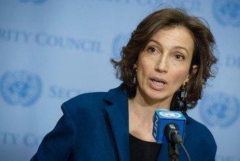 La Directrice générale de l'Organisation des Nations Unies pour l'éducation, la science et la culture (UNESCO), Audrey Azoulay.