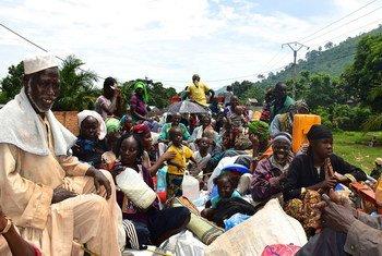 Des civils à bord de camions lors d'une précédente opération de réinstallation de personnes déplacées par l'OIM en République centrafricaine. (archive)