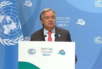 秘书长古特雷斯在波恩气候变化大会上发表讲话。联合国图片