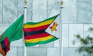 علم زيمبابوي أمام مقر الأمم المتحدة.